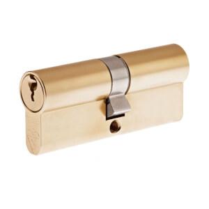 Yale Kitemarked Euro Double Cylinder - 45:10:45 (100mm) - Brass Finish