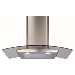 CDA ECP72SS Curved Glass Chimney Cooker Hood - 70cm - Stainless Steel
