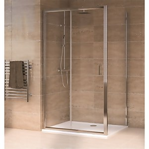 Aqualux Sliding Door 1400 x 900mm Shower Enclosure and Tray Package