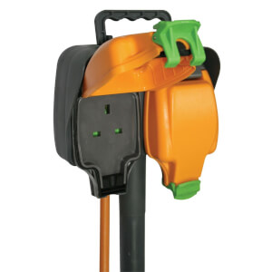 Masterplug 2 Socket Outdoor Spike with IP Rated Sockets 5m Black/Orange