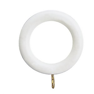 White Wood 6 pack of Curtain Rings
