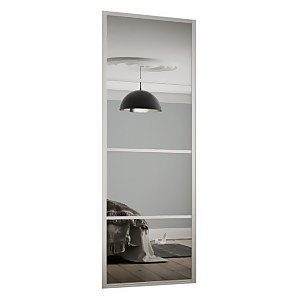 Ellipse Sliding Wardrobe Door 4 Panel Mirror with Aluminium Frame (W)610mm