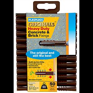 Plasplugs Heavy Duty Concrete & Brick Fixings - 50 Pack