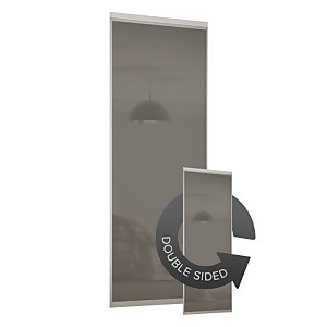 Duo Sliding Wardrobe Door Cappuccino Glass with Aluminium Frame (W)762mm
