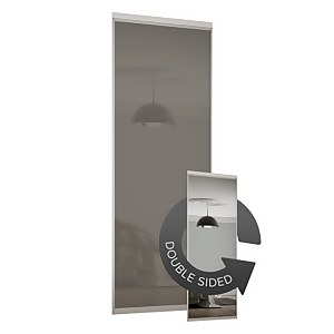 Duo Sliding Wardrobe Door Cappuccino Glass / Mirror with Aluminium Frame (W)762mm