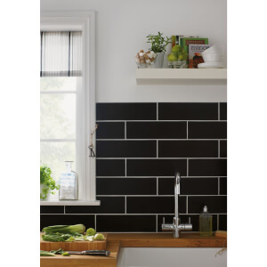 Islington Wall Tile - Matt Black - 100 x 330mm - Pack of 15