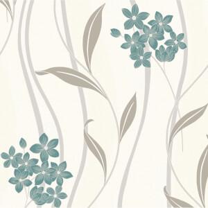 Superfresco Elise Teal Silver Wallpaper
