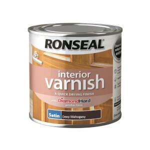 Ronseal Interior Varnish Satin Deep Mahogany - 250ml