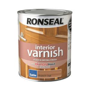 Ronseal Interior Varnish Satin French Oak - 750ml