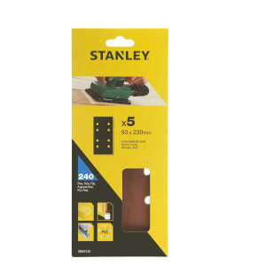 Stanley 1/3 Sheet Sander Punched Wire Clip 240G Sanding Sheets