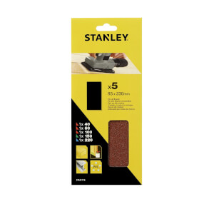 Stanley 1/3 Sheet Sander UNPunched Wire Clip Mixed Sanding Sheets - STA31116-XJ