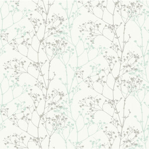 Grandeco Scandi Sprig Grey & Teal Wallpaper