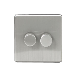 Arlec Metal Screwless 250 Watt 2 Gang 2 Way Dimmer Stainless Steel