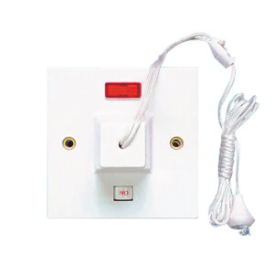 Arlec Square Edge 45 Amp Pull Switch with Neon White