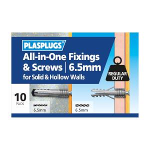 Plasplugs 6.5mm Multi Purpose & Screws x 10