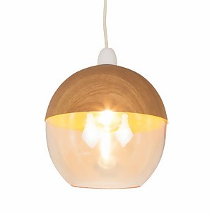 Hope Easy Fit Pendant Light Shade - Wood and Glass