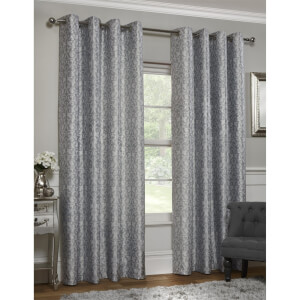 Faux Silk Damask Grey Lined Eyelet Curtains 117cm x 137cm