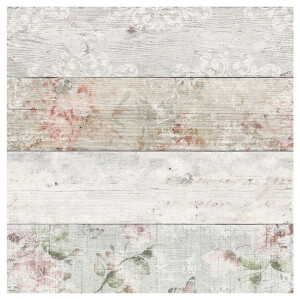Fresco Distressed Wood Floral Wallpaper