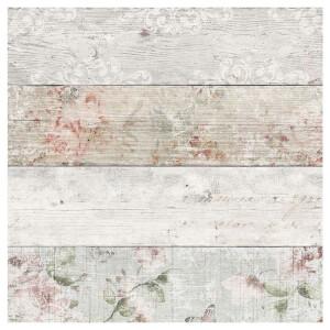 Fresco Distressed Wood Floral Wallpaper