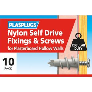 Plasplugs Nylon Self Drive & Screws x 10