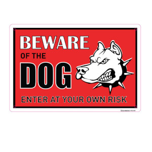 Medium Beware of the Dog Sign - 300 x 200mm