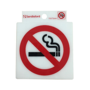 Self Adhesive No Smoking Symbol Sign - 75 x 75mm