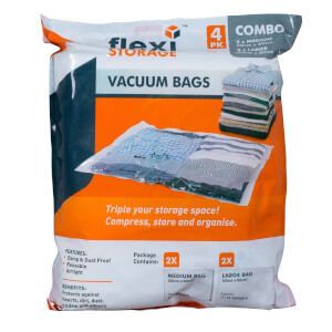 Vacuum Storage Bag Combo - Pack of 4 (2 Medium, 2 Large)