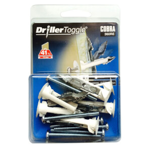 Cobra Driller Toggle - Hollow Wall Fixings x 6 - 360RE
