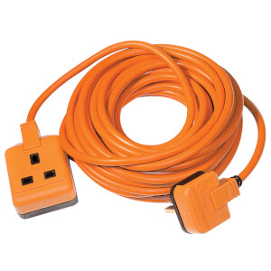 Masterplug 1 Socket Heavy Duty Extension Lead 10m Orange