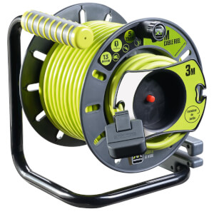 Masterplug Pro XT 1 Socket Cable Reel 25m & Reverse Reel 3m IP54 Rated Green/Grey