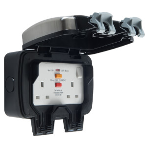 BG 2 Socket Weatherproof Switched Socket with RCD Silver