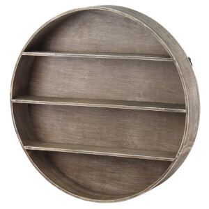 Round Wall 3 Shelf Unit - Oak