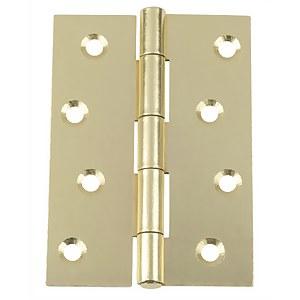 Hafele Butt Hinge - Electro Brass - 100 x 71mm - 2 Pack