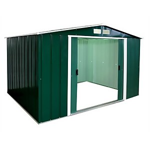 10x8ft Sapphire Apex Metal Shed Green