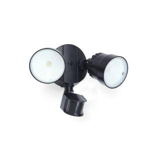 Lutec Shrimp 15W Twin LED PIR Wall Light - Black
