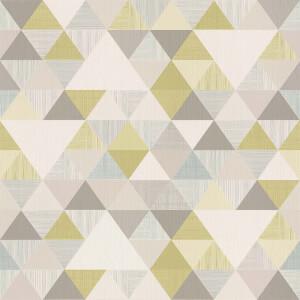 Grandeco Geo Triangle Green Wallpaper