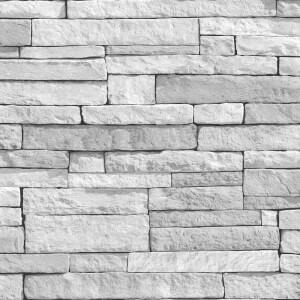 Fresco Ledgestone White Wallpaper
