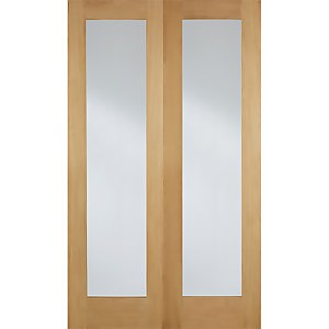 Pattern 20 Internal Glazed Unfinished Oak 1 Lite Pair Doors - 1168 x 1981mm