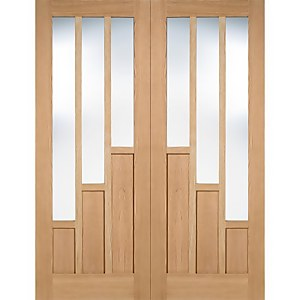 Coventry Internal Glazed Unfinished Oak 3 Lite Pair Doors - 915 x 1981mm