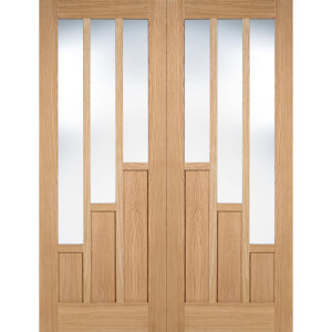 Coventry Internal Glazed Unfinished Oak 3 Lite Pair Doors - 1168 x 1981mm