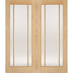 Lincoln Internal Glazed Unfinished Oak 3 Lite Pair Doors - 915 x 1981mm