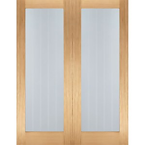 Mexicano Internal Glazed Unfinished Oak 1 Lite Pair Doors - 1067 x 1981mm