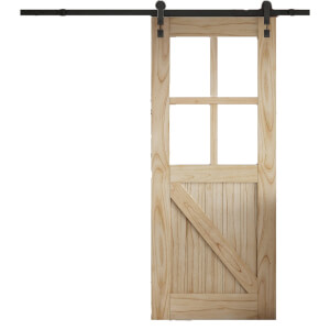 Cottage FLB Sliding Barn Clear Glazed Door with Industrial Track 2073 x 862mm