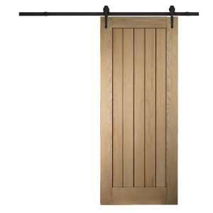 Cottage Oak Sliding Barn Door with Urban Track 2073 x 862mm