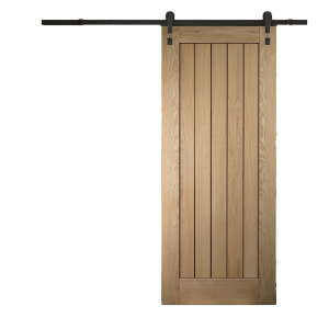 Cottage Oak Sliding Barn Door with Industrial Track 2073 x 862mm