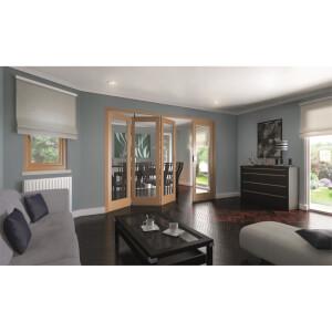Shaker Oak 1 Light Clear Glazed Interior Folding Doors 3 x 1 2047 x 2849mm