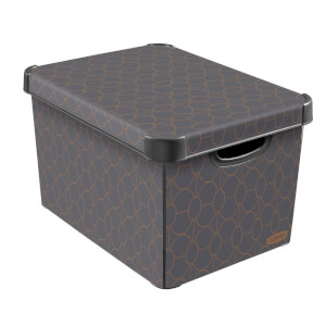 Curver Stockholm Art Deco Plastic Deco Storage Box, Grey / Bronze effect 22L