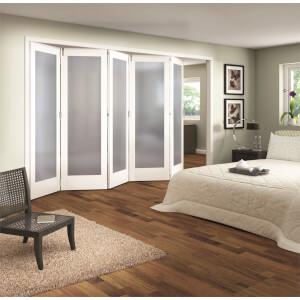 Shaker White Primed 1 Light Obscure Glazed Interior Folding Doors 5 x 0 2047 x 3538mm