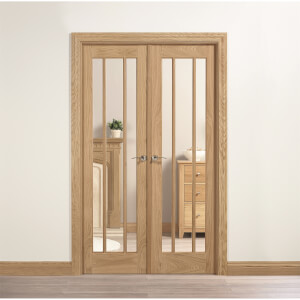 Lincoln Internal Glazed Unfinished Oak Room Divider - 1246 x 2031mm