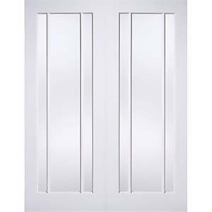 Lincoln Internal Glazed Primed White 3 Lite Pair Doors - 1168 x 1981mm